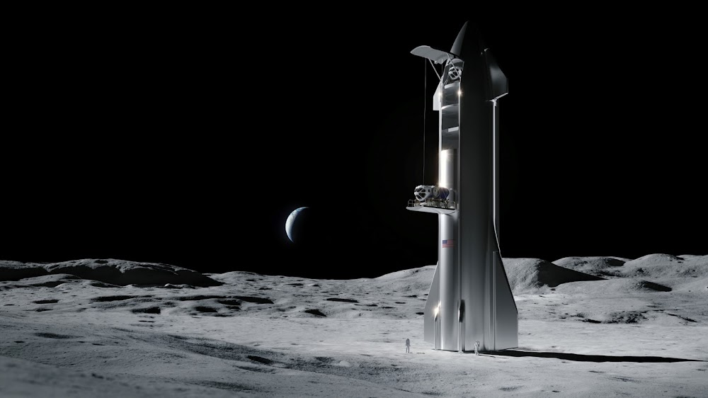 SpaceX cargo Starship unloading on the Moon