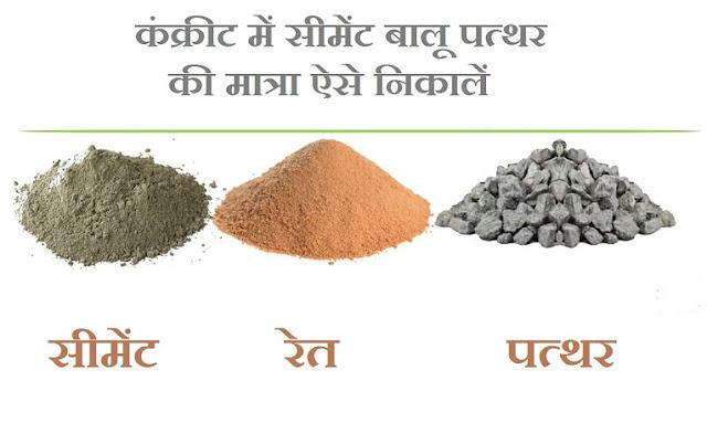 Cement sand stone quantity estimation in hindi