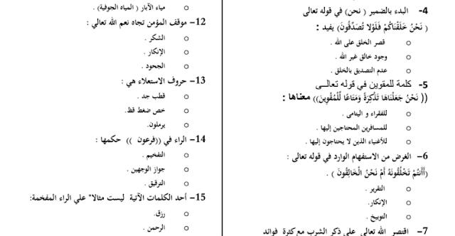 مراجعة في التربية الاسلامية للصف التاسع الفصل الثالث 2018-2019