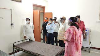 आयुष मंत्री श्री कावरे के साथ गोंगलई कोविड सेंटर का किया निरीक्षण, मण्डल अध्यक्ष सतीश लिल्हारे रहे उपस्थित