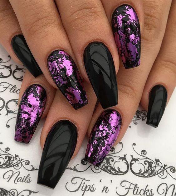 Pretty Nail Designs in Dark Colors