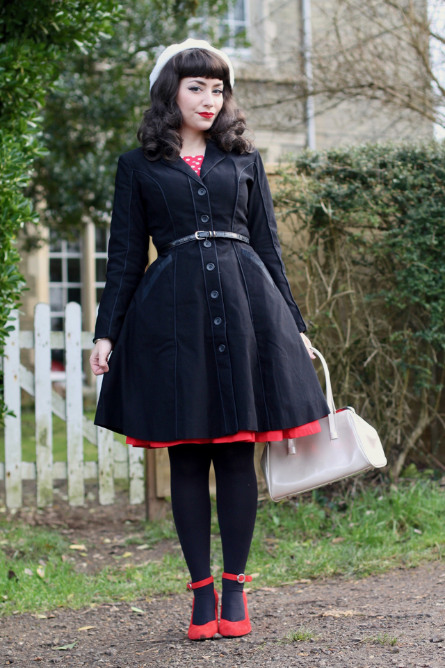 Sourpuss Clothing Fancy Pants solid black coat review with the Annabelle's Wigs 'Becca'