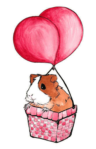 Afbeelding met cavia in een luchtballon