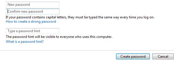 Memasukkan password baru dan konfirmasi