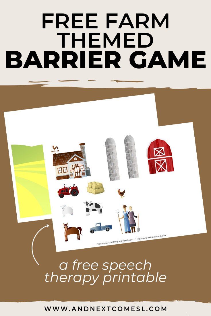 Free speech therapy barrier game: farm themed