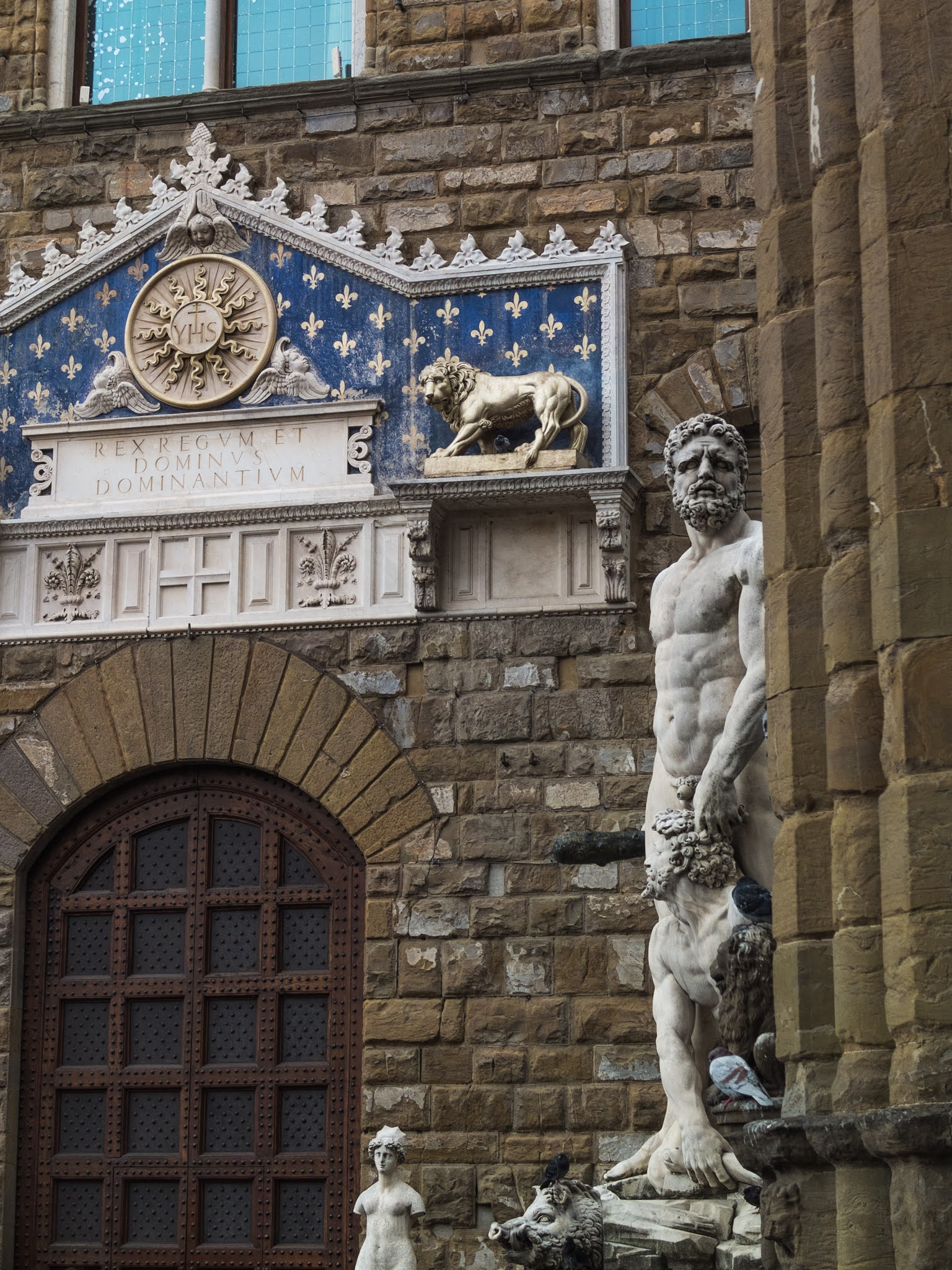 Sculpture of Hercules and Cacus outside the entrance to the Palazzo Vecchio in Florence.