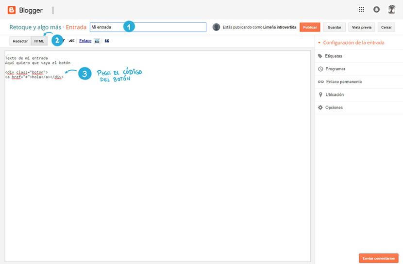 Editar HTML y copiar código de un botón en una entrada blogger