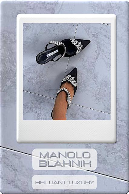 ♦Manolo Blahnik Lurum black satin crystal embellished mules #manoloblahnik #shoes #black #brilliantluxury