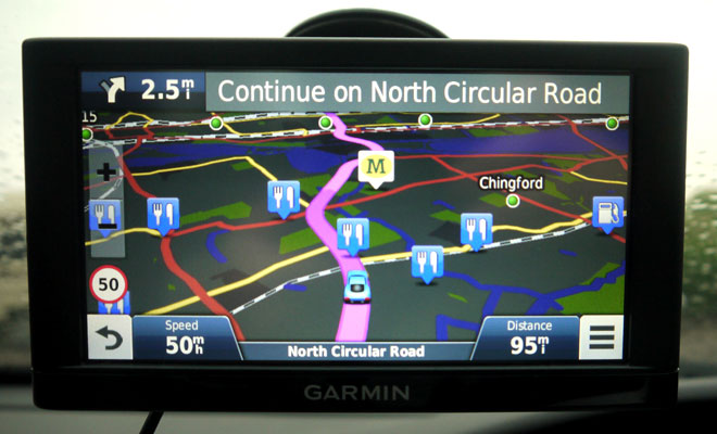 Garmin Nuvi 65LM night-time colour scheme
