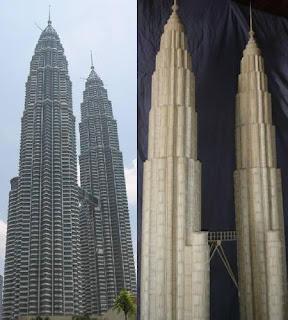 Torres petronas con palillos para dientes o Picadientes de madera