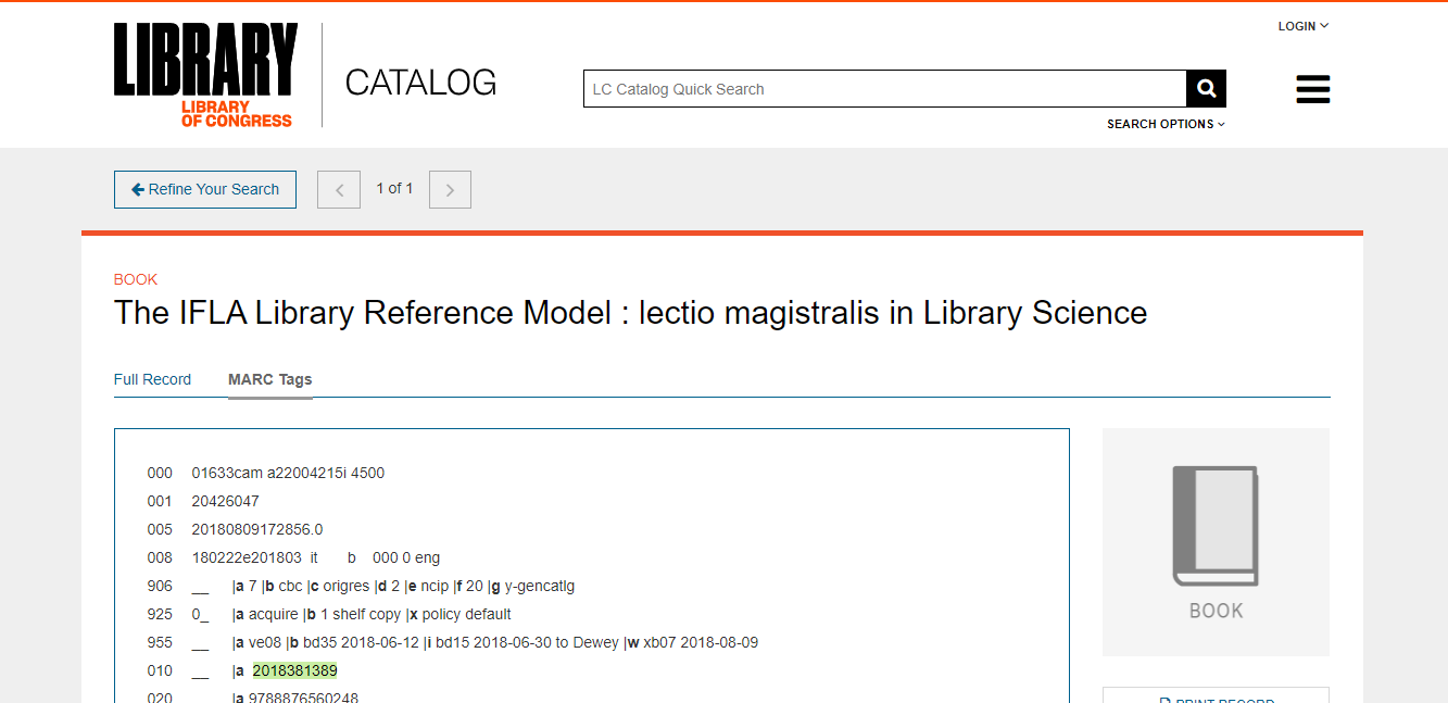 BIBLIOGRAPHIC RECORD FOR THE WORK: IFLA LIBRARY REFERENCE MODEL (LRM)
