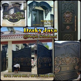 Model pintu, pagar besi tempa mewah dan kanopi antik di Sukabumi