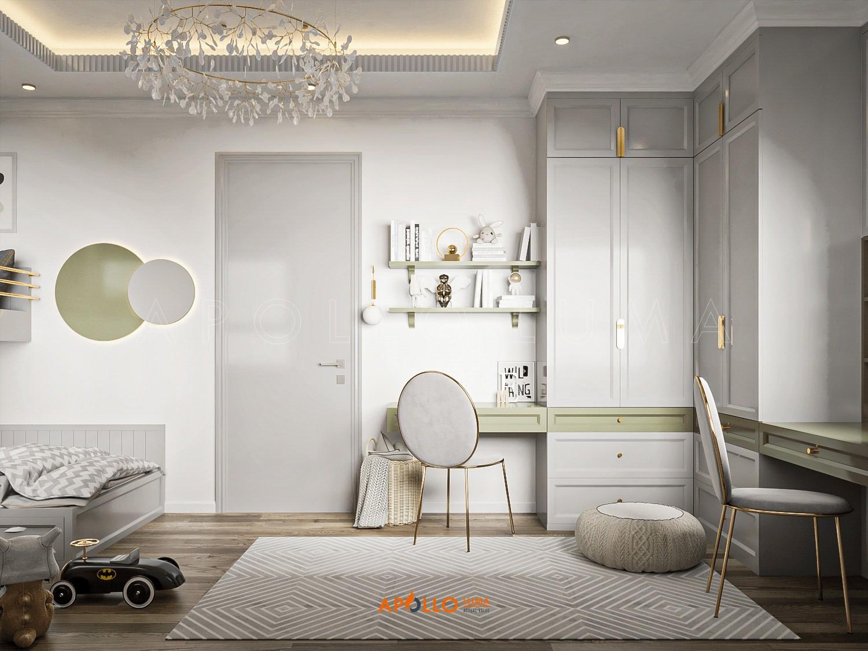 Thiết kế nội thất phòng ngủ cho 2 bé trai đơn giản và tối ưu