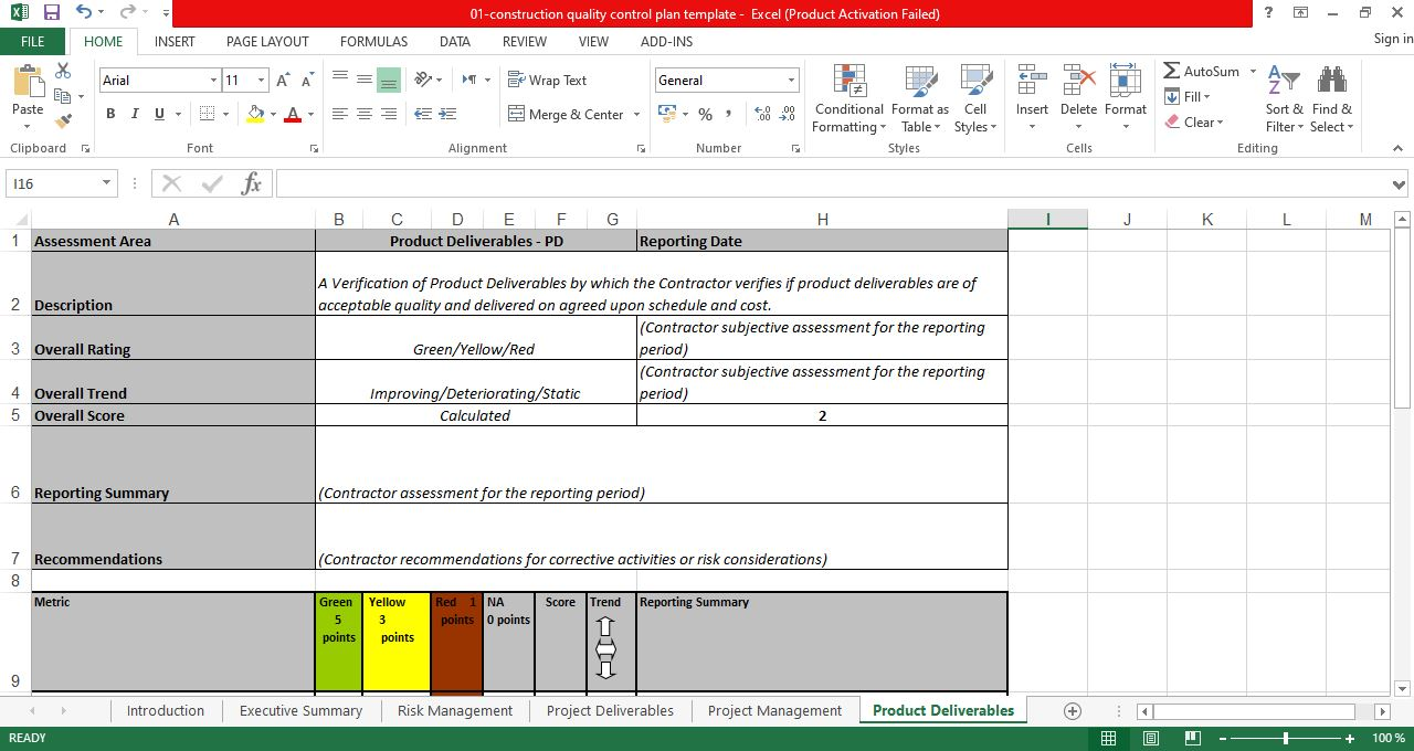 Quality assurance report template