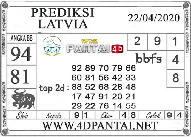 PREDIKSI TOGEL LATVIA PANTAI4D 22 APRIL 2020