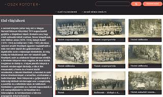 Az első világháborús gyűjtemény kezdőoldala
