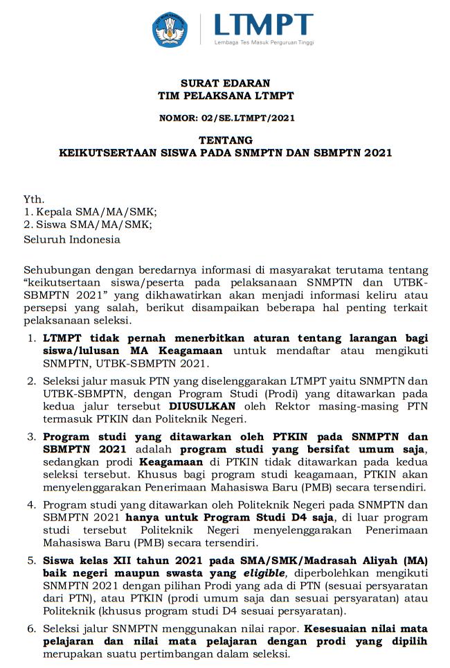 Lulusan MA (Madrasah Aliyah) Juga Berhak Ikut SNMPTN dan SBMPTN Tahun 2021/2022
