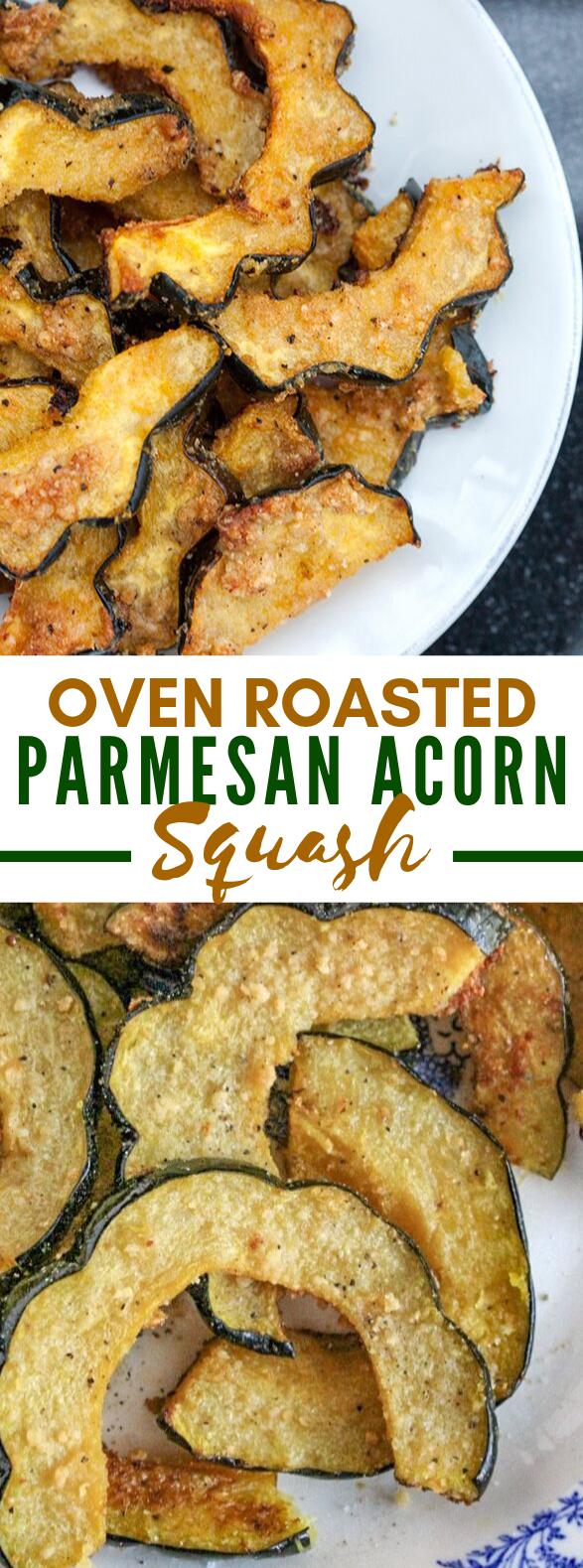 OVEN ROASTED PARMESAN ACORN SQUASH #vegetarian #thanksgiving