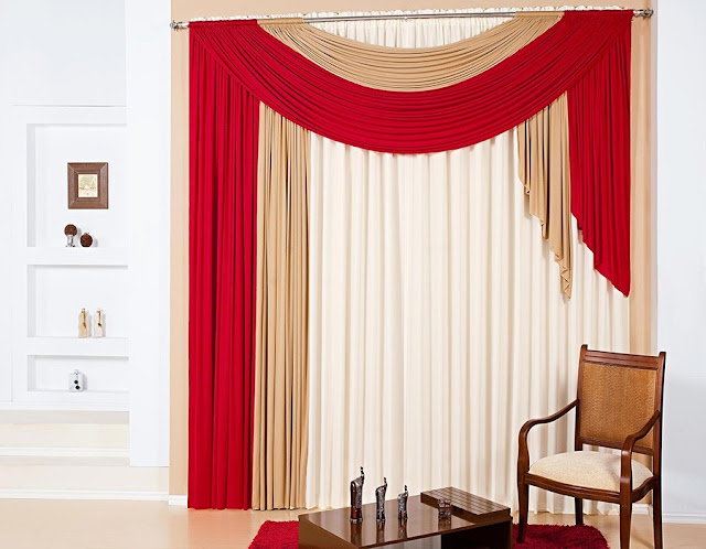 white, beige and red curtains - modern living room curtain designs