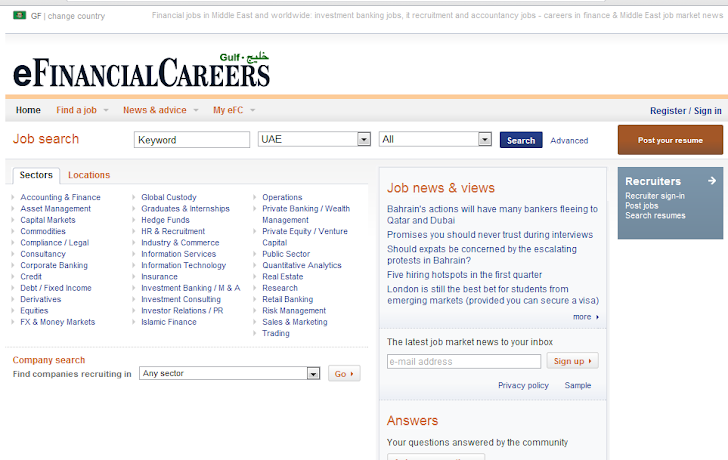 Database of banking recruitment website Efinancialcareers
