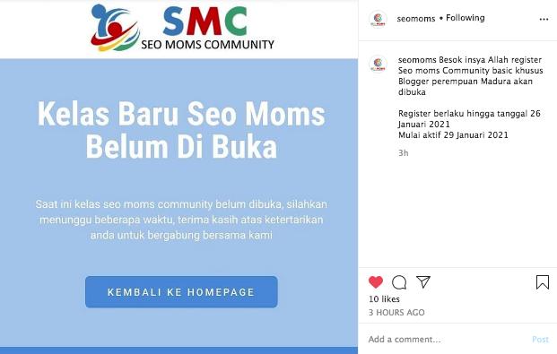 Pendaftaran kelas gratis  SEO Moms