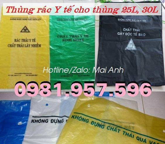 Túi rác Y tế, túi rác thùng rác Y tế 30L, túi rác thùng rác Y tế 60L