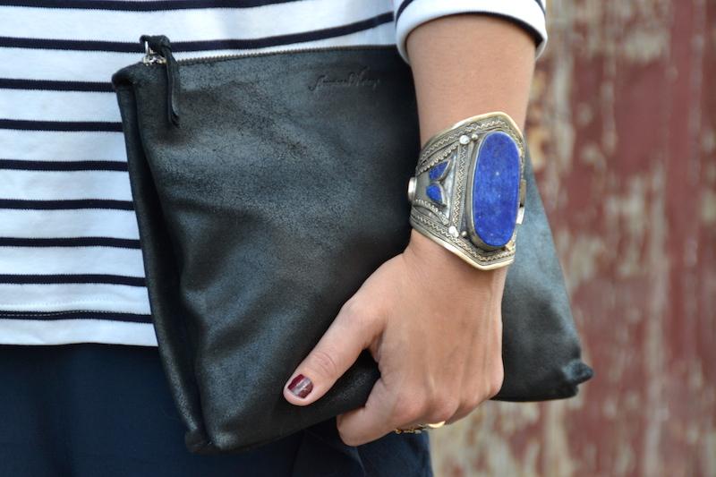 bracelet bleu lapis ebay et pochette American Vintage