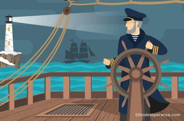 Marinero dirigiendo barco en alta mar