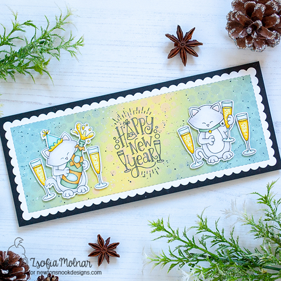 Happy New Year Card by Zsofia Molnar | Happy New Year Stamp Set, Newton Celebrates Stamp Set,  Newton's New Year Stamp Set and Slimline Frames & Portholes Die Set by Newton's Nook Designs #newtonsnook #handmade