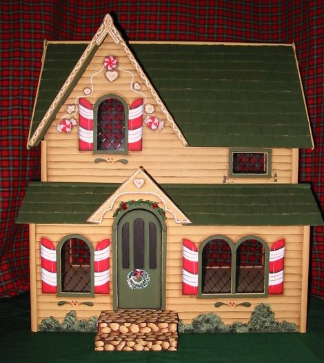 Candy Cane Christmas Cottage Handpainted Dollhouse
