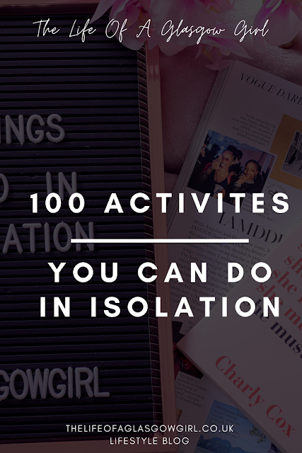 Pinterest graphic that has 100 things to do in isolation written on it