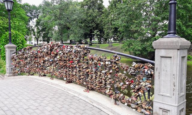 Love locks in Bastion Hill Riga Latvia