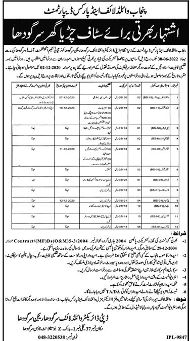 Punjab Wildlife and Parks Department Jobs 2020