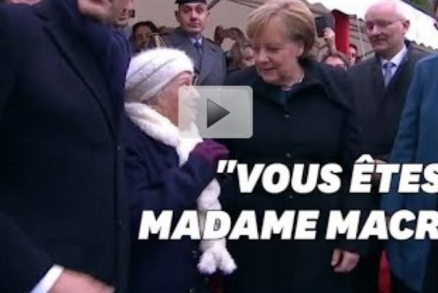 """بالفيديو..عجوز تحرج المستشارة الألمانية """"أنغيلا ميركل"""":هل أنت زوجة رئيس فرنسا """"ماكرون؟"""
