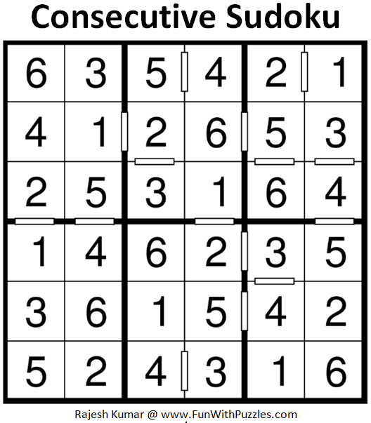 Consecutive Sudoku (Mini Sudoku Series #73) Solution