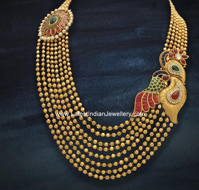 Kundan Mugappu Gold Beads Mala