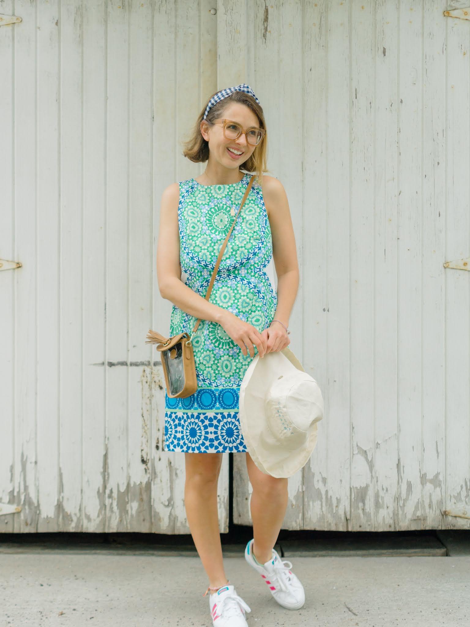 blue and white shift dress