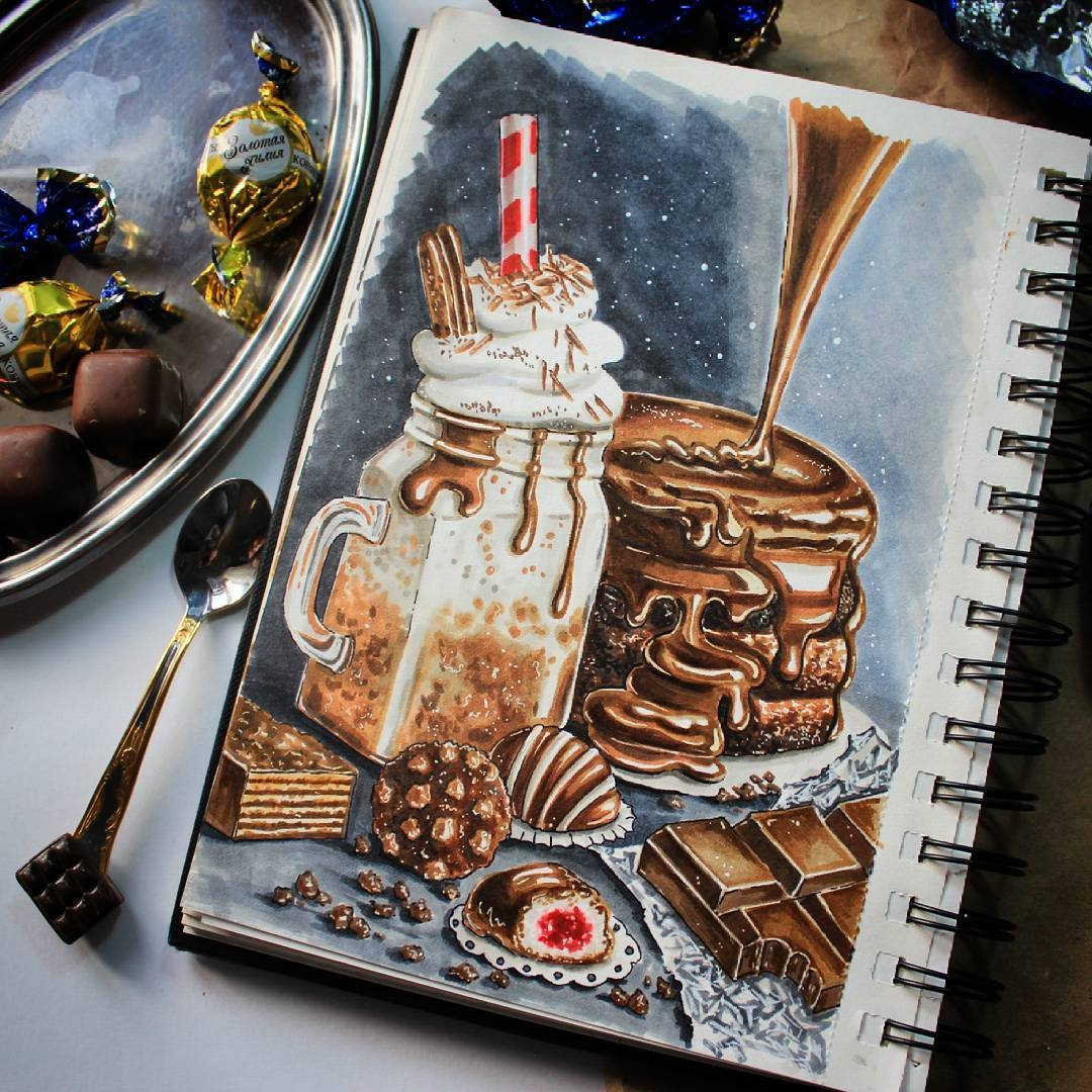01-stepashkina-Cakes-Pastries-and-Drinks-Food-Art-Drawings-www-designstack-co