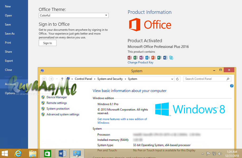 Windows 8.1 AIO Included Office 2016