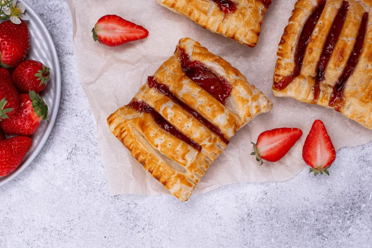 Sweet Jus Rol puff pastry cakes with strawberry