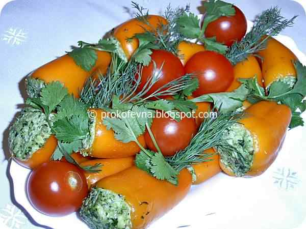 cold appetizer of mini sweet peppers