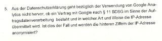 Auszug Anschreiben Beauftragte für den Datenschutz Baden-Württemberg zu Google Analytics