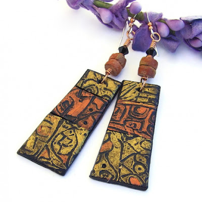 copper and gold polymer clay rustic jewelry