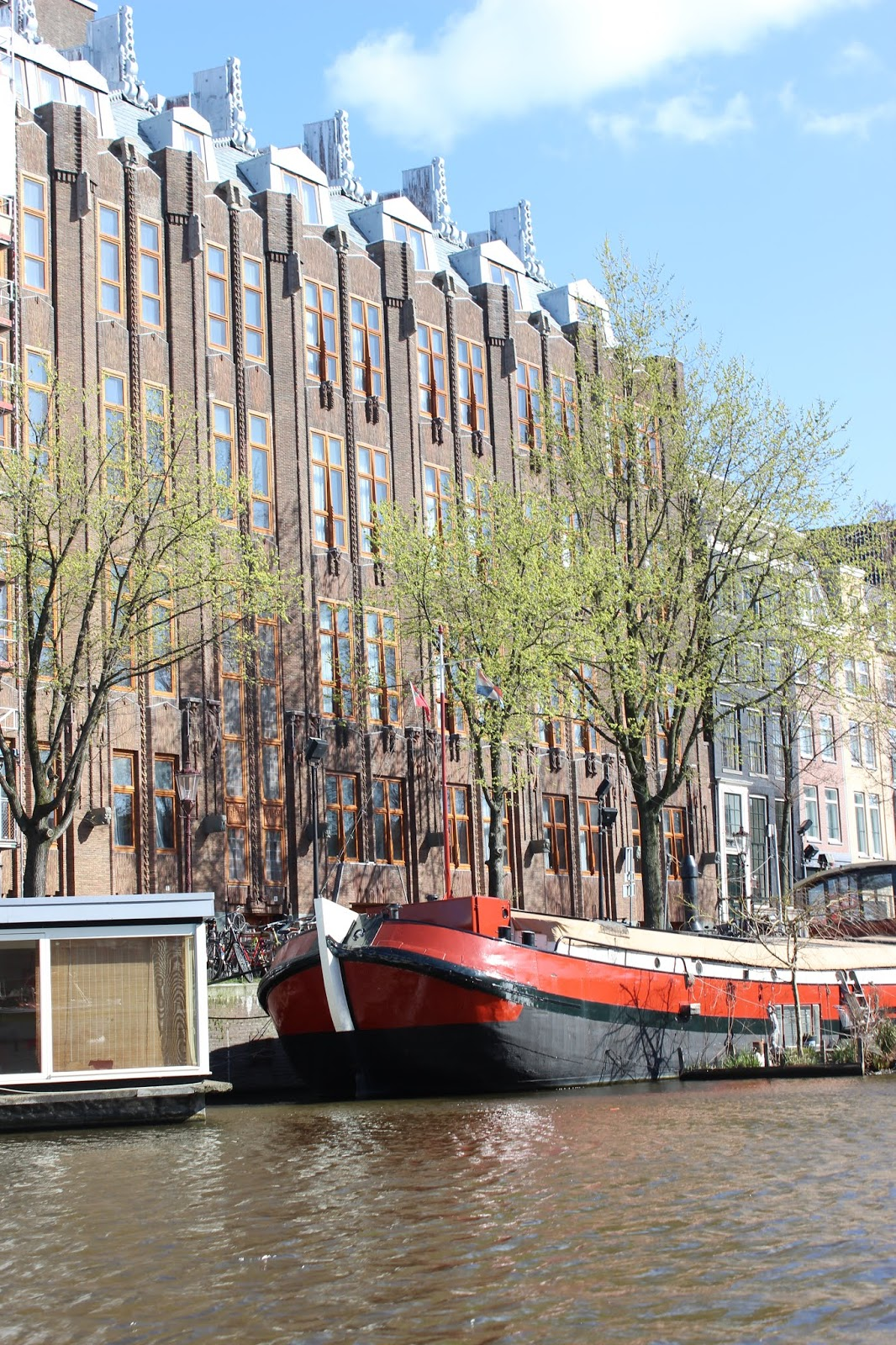 A residential canal boat in Amsterdam