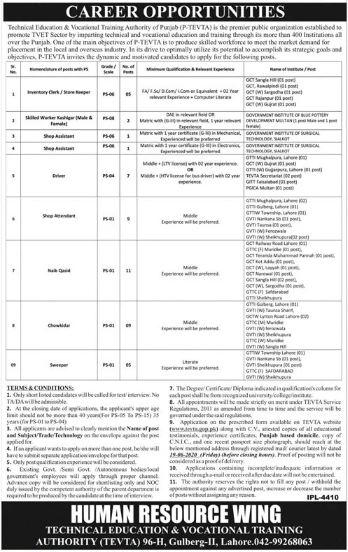 TEVTA Lahore Jobs