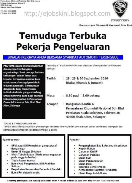 Temuduga Terbuka di PROTON Pada 28 Hingga 30 September 2016