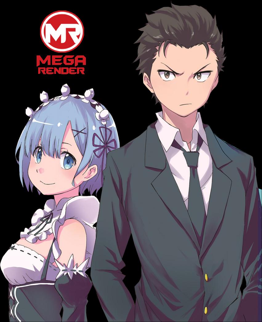 Render Re-Zero Anime Subaru Natsuki & Rem
