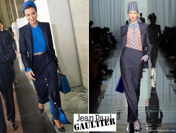 Sheikha Moza wore Jean Paul Gaultier suit from Spring 2017 Couture Collection