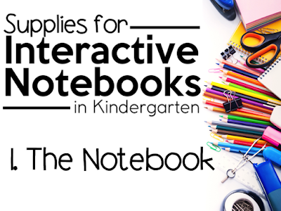 """This is a graphic that says, """"Supplies for Interactive Notebooks in Kindergarten: The Notebook."""""""