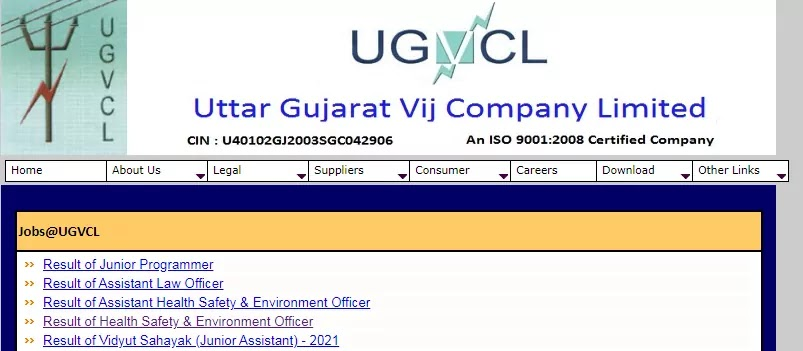 UGVCL Junior Programmer, Assistant Law Officer, Assistant Health Safety & Environment Officer, Health Safety & Environment Officer Result 2021 Out